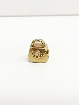 "Pandora Ale 14K Yellow Gold ""Diamond Purse"" Charm- #750340D Retired"