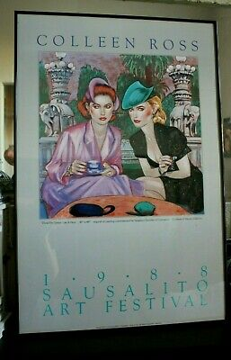 """COLLEEN ROSS Poster Sausalito Art Festival HAND SIGNED & DATED 1988    24"""" X 36"""""""