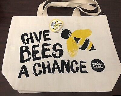Whole Foods Eco Tote Bag Give Bees A Chance New