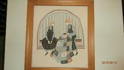 """P Buckley Moss ''TAKING TURNS """" Completed & Framed Cross Stitch Picture"""