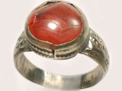 18thC Russian Ukrainian Crimean Tatars Silver Ring Orange Quartz Carnelian Sz 11