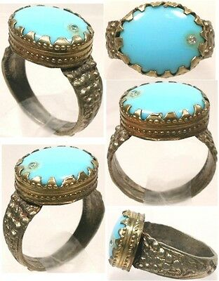 18thC Russian Ukrainian Crimean Tatars Silver Ring Turquoise Blue Glass Gem Sz10