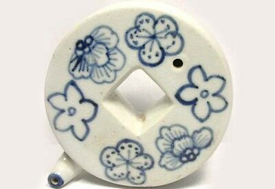 """Antique 19thC Chinese Blue + White Coin Style Porcelain Ink Well """"Water Dropper"""""""