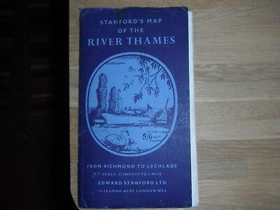 Old map of the river Thames  Richmond to Lechlade from 1960 ORIGINAL MAP