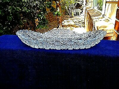 Heavy Cut Glass Daisy & Button Celery or Relish Dish