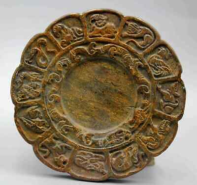 Collection Antique China Jade Carving Zodiac Moral Exorcism Inkstone Rare Statue