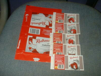 Set Of 5 Matchbox Label Skillets And Wrapper From Australia, Redheads Christmas