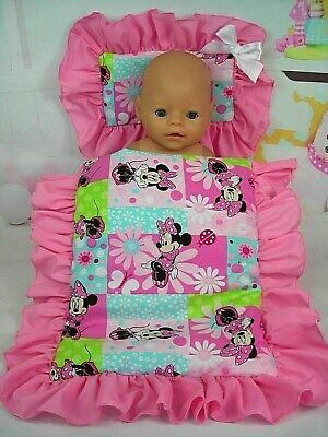 Dolls~Minnie Mouse~Floral ~ Pillow & Quilt Cover  For ~ Bed, Cot, Pram, Cradle ~