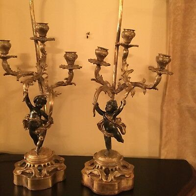 Pair of antique French bronze candelabras/ lamps with cherubs, circa 19 century