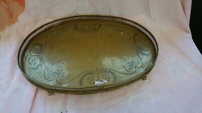 Vintage Antique Large Brass Tray 46Cm X 34Cm With Legs And Hand Etched Design