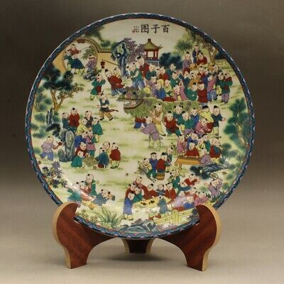 Chinese old hand-carved famille rose hundred son map porcelain plate c01