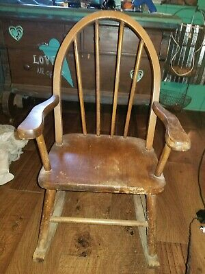 vintage antique  childs wooden rocking chair