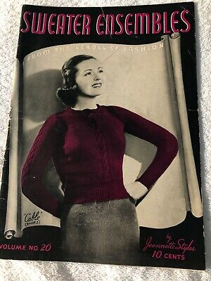 Vintage 1940 Sweater Ensembles instruction catalog Knitting Styles skirts