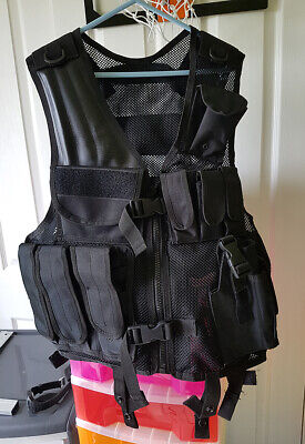 Tactical Vest Black Military Paintball Security Combat Assault Airsoft