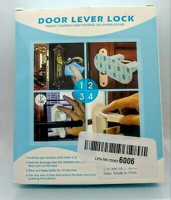 NEW****  2 DOOR LEVEL LOCKS SAFETY Child Proof Doors/TWO Adhesive Lever Handle S