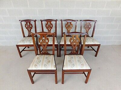Henkel Harris Chippendale Style Mahogany Side Chairs Set of 6