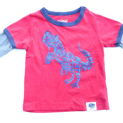 OshKosh Boys Long Sleeve Red Gray Tee Dinosaur T-Rex NWT New 12m 12 month