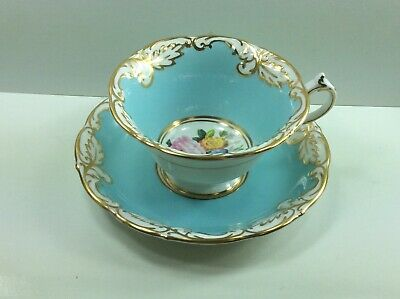 PARAGON wide mouthed Blue background Cup and Saucer, EXCELLENT