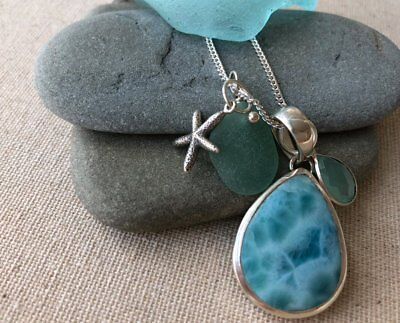 Dramatic SS Larimar Pendant w/ Rare Teal Genuine Sea Glass and Starfish Charm
