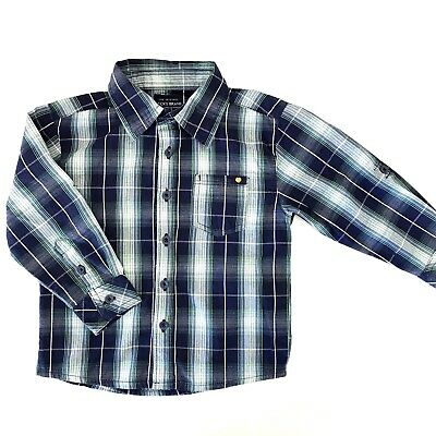 Lucky Brand Toddler Boys Size 2T Blue Button Down Shirt Plaid Long Sleeve
