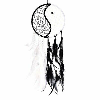 Handmade Yin Yang Dream Catcher Circular Net with Feathers Beads for Wall Car OB