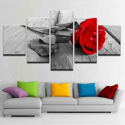 Canvas Print HD Home Decoration Canvas Pictures Modern 5 Panel Red Rose Flowe...