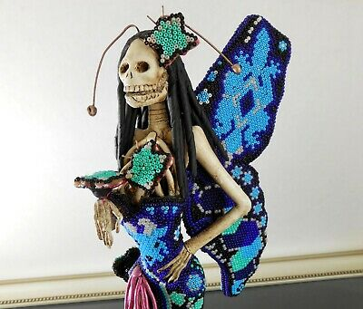 "CATRINA Day of Dead Huichol Beaded Sculpture 12.5""H Mexican Butterfly Figurine"
