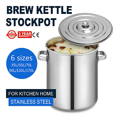 35,50,70,90,130,170 L Stock Pot Kitchen Cookware 37QT Cuisine Stainless Steel