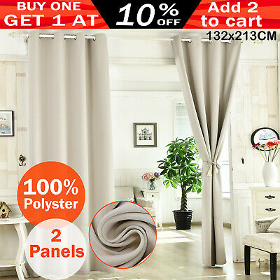2X Blockout Curtains Thermal Blackout Curtains Eyelet Pure Fabric Pair Beige