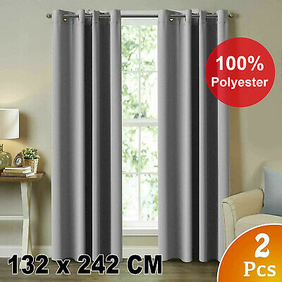 2X Blockout Curtains Thermal Blackout Curtains Eyelet Pure Fabric Pair Black