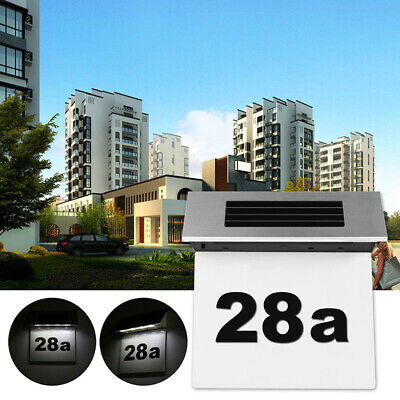 Solar Powered LED Number Sign Light House Hotel Door Address Digits Plate Plaque
