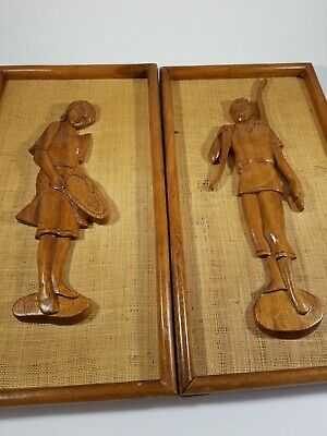 Vintage Asian Hand Carved Wooden Wood Wall Plaque Panel Boy and Girl Set