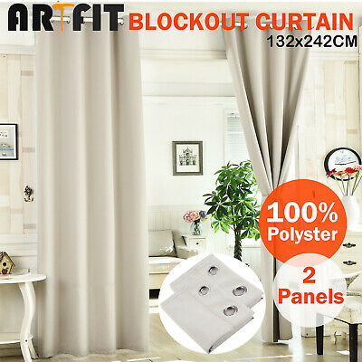 2X Blockout Curtains Blackout Curtains Thermal Eyelet Beige Pure Fabric Pair