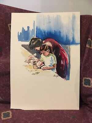Original Watercolor Mother & Daughter By Noted West Texas Artist May White Dyer