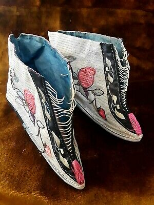 Antique 1800-1900 Chinese Cotton & Silk Embroidered Binding Shoes