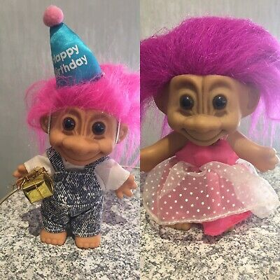 Vintage 12cm Troll party boy and girl
