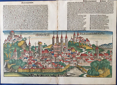 City view BAMBERG Nuremberg Chronicle 1493 - Liber chronicarum Schedel FRANCONIA