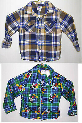 Healthtex Flannel Shirt Boys 24 month (2T?) Little Man & Mickey Mouse Pajama Top