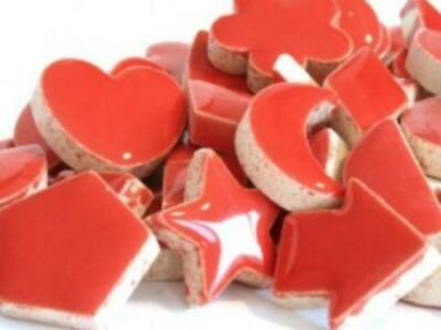 Red Ceramic Charms - Mosaic Tile Supplies Art Craft