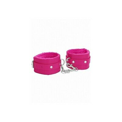 Ouch! Plush Leather Hand Cuffs - Pink costrittivo manette BDSM sadomaso legatura