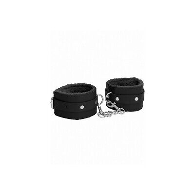 Ouch! Plush Leather Ankle Cuffs - Black costrittivo manette BDSM sadomaso legatu