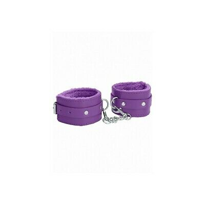 Ouch! Plush Leather Ankle Cuffs - Purple costrittivo manette BDSM sadomaso legat