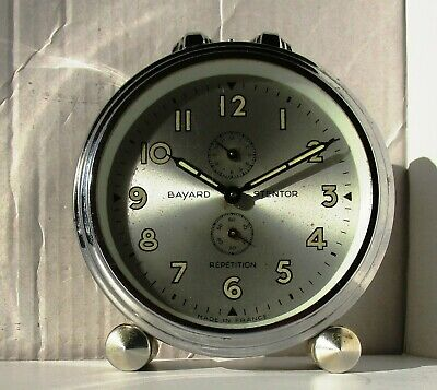 Lovely Vintage Silver Faced Chrome Alarm Clock from BAYARD - Model STENTOR REPET
