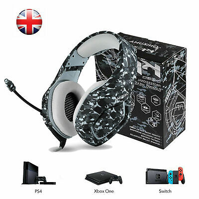 UK Gaming Headset for PS4 Xbox Switch 3.5MM MIC ONIKUMA Headphone Camouflage
