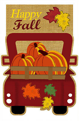 Morigins Happy Fall Old Red Truck Maple Leaves Pumpkins Burlap Garden Flag 12x18