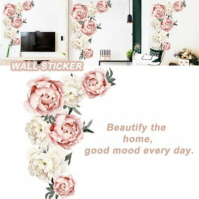 Fresh Peony Flower Wall Sticker Living Room Mural Decal Home Art Decor Gift SQ