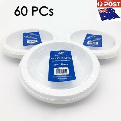 BULK 60 x Round Disposable Plastic Bowls Plates 180mm White Bowl Catering Party
