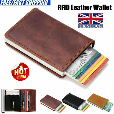 Auto Credit Card Holder Leather RFID Blocking Small Metal Wallet Money Clip