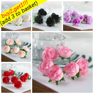 10/20/50pc Small Silk Rose Bud Heads Artificial Fake Flowers Wedding Party Decor
