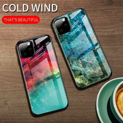 For iPhone 11 Pro Max XS XR X 8 7 6 Gradient Marble Glass Hybrid Hard Case Cover